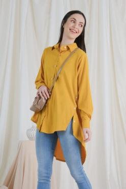 habra haute casual top casual wear for women blouse muslimah shirt for women shirt collar type butang depan gio button shirt mustard GI10