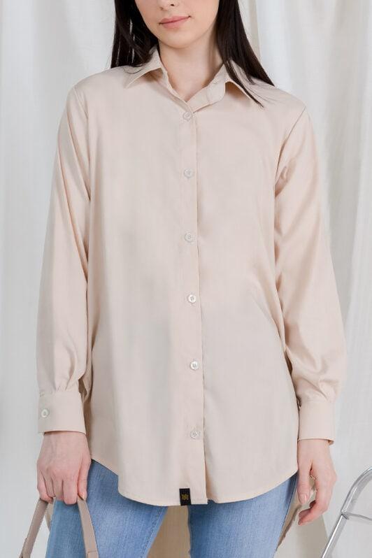 habra haute casual top casual wear for women blouse muslimah shirt for women shirt collar type butang depan gio button shirt nude GI02