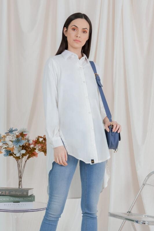 habra haute casual top casual wear for women blouse muslimah shirt for women shirt collar type butang depan gio button shirt off white GI09