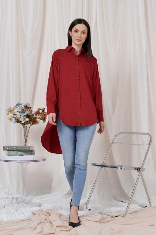 habra haute casual top casual wear for women blouse muslimah shirt for women shirt collar type butang depan gio button shirt red GI04