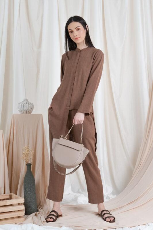habra haute casual top pants suit casual wear for women blouse muslimah shirt for women shirt collar type kasual niko NI01 brown