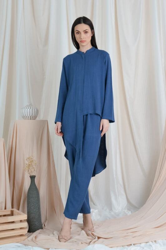 habra haute casual top pants suit casual wear for women blouse muslimah shirt for women shirt collar type kasual niko NI03 teal