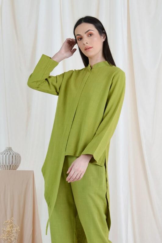 habra haute casual top pants suit casual wear for women blouse muslimah shirt for women shirt collar type kasual niko NI04 apple green