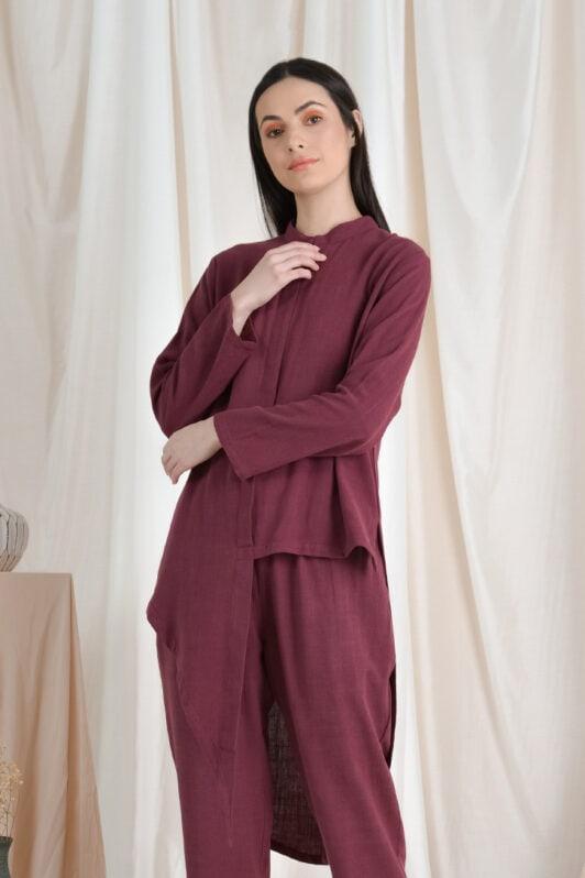 habra haute casual top pants suit casual wear for women blouse muslimah shirt for women shirt collar type kasual niko NI05 burgundy