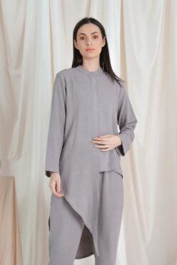 habra haute casual top pants suit casual wear for women blouse muslimah shirt for women shirt collar type kasual niko NI06 grey
