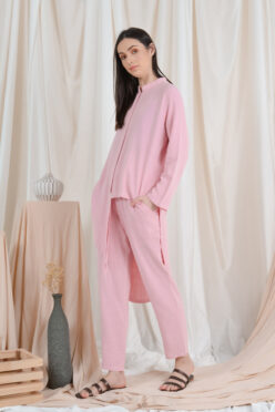habra haute casual top pants suit casual wear for women blouse muslimah shirt for women shirt collar type kasual niko NI07 baby pink