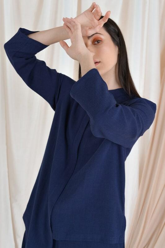 habra haute casual top pants suit casual wear for women blouse muslimah shirt for women shirt collar type kasual niko NI08 navy blue