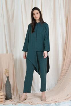 habra haute casual top pants suit casual wear for women blouse muslimah shirt for women shirt collar type kasual niko NI09 emerald