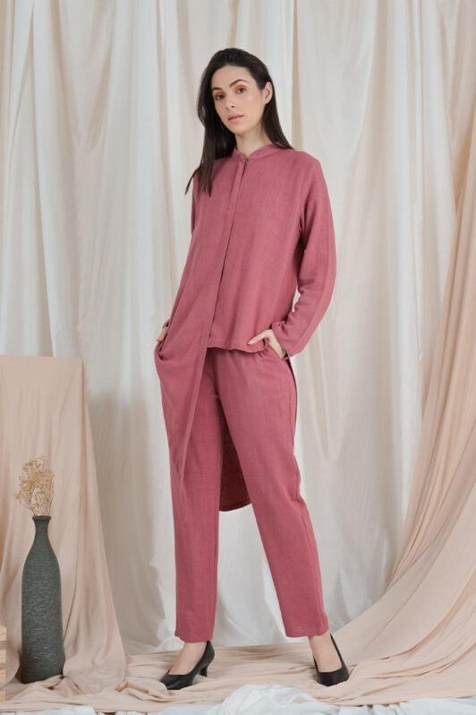 habra haute casual top pants suit casual wear for women blouse muslimah shirt for women shirt collar type kasual niko NI10 plum