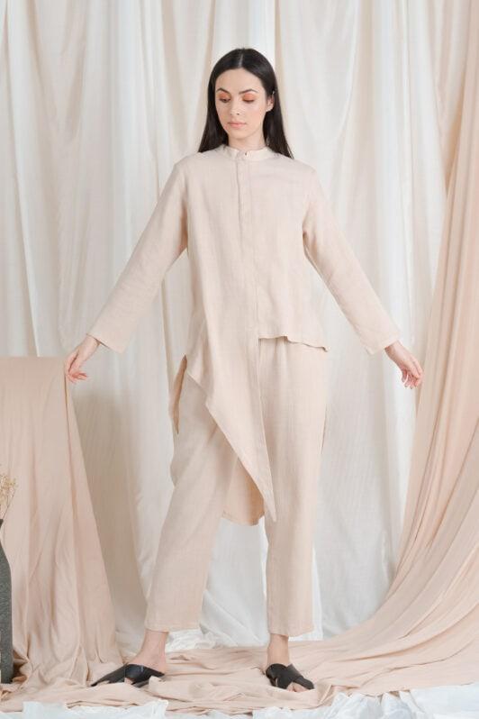 habra haute casual top pants suit casual wear for women blouse muslimah shirt for women shirt collar type kasual niko NI12 nude